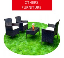 Rattan garden furniture for 4 people, brown