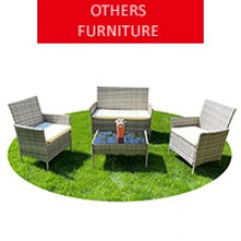 Rattan garden furniture for 4 people, gray