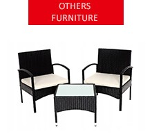 Rattan garden furniture for 2 people, black