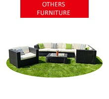 Rattan garden furniture for 6 people, black
